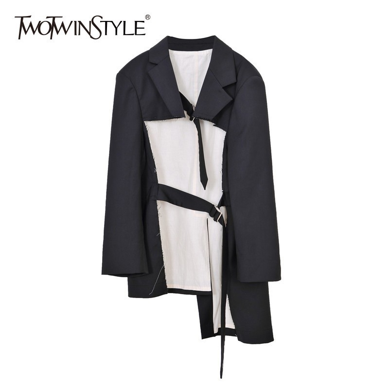 TWOTWINSTYLE Black Irregular Blazer Coats Female Lapel Long Sleeve Lace Up Oversized Womens Outerwear 2019 Spring