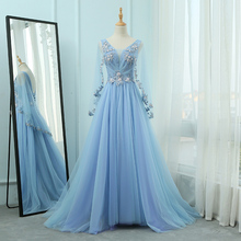 Vivian's Bridal 2019 Fashion Sky Blue A-line Fluffly Evening Dress Elegant 3d Lace Beading Flower Long Flare Sleeve Party Dress beautiful long sleeves sky blue tulle princess dress for birthday party purple lace and silver sequined a line flower girl dress
