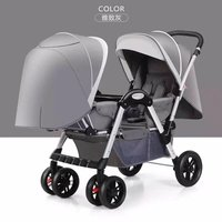 Twin Baby Stroller Four wheel Shock Absorber Baby Can Sit Reclining Multi range Adjustment Double Stroller Foldable Dolly Carts