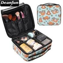 Deanfun Makeup Case Sloth Rainbow Leaf Water Resistant Adjustable Dividers Cosmetic Bag Travel Organizer Train Cases 16005