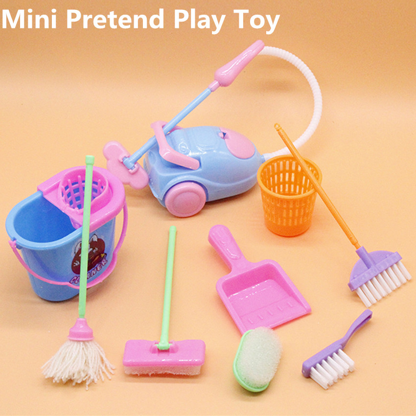 9PCS Children Kids Cleaning Sweeping Mop Broom Brush Dustpan Toy Playset Housekeeping Toys Child Pretend Play Tools