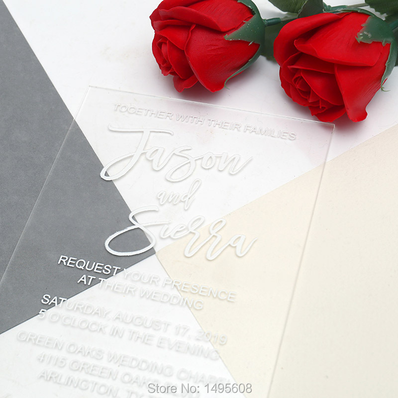 Us 14 16 15 Off Clear Wedding Invitation Vinyl Transpa Invitations Custom For Guests Printing Card In Cards