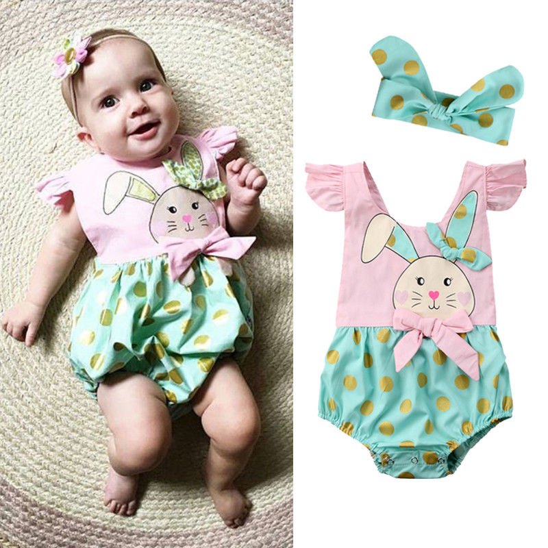 2PCS Fashion Baby Girls Gold Dot Bunny Baby   Romper   Jumpsuit Headband Easter Outfits Clothes 0-24M