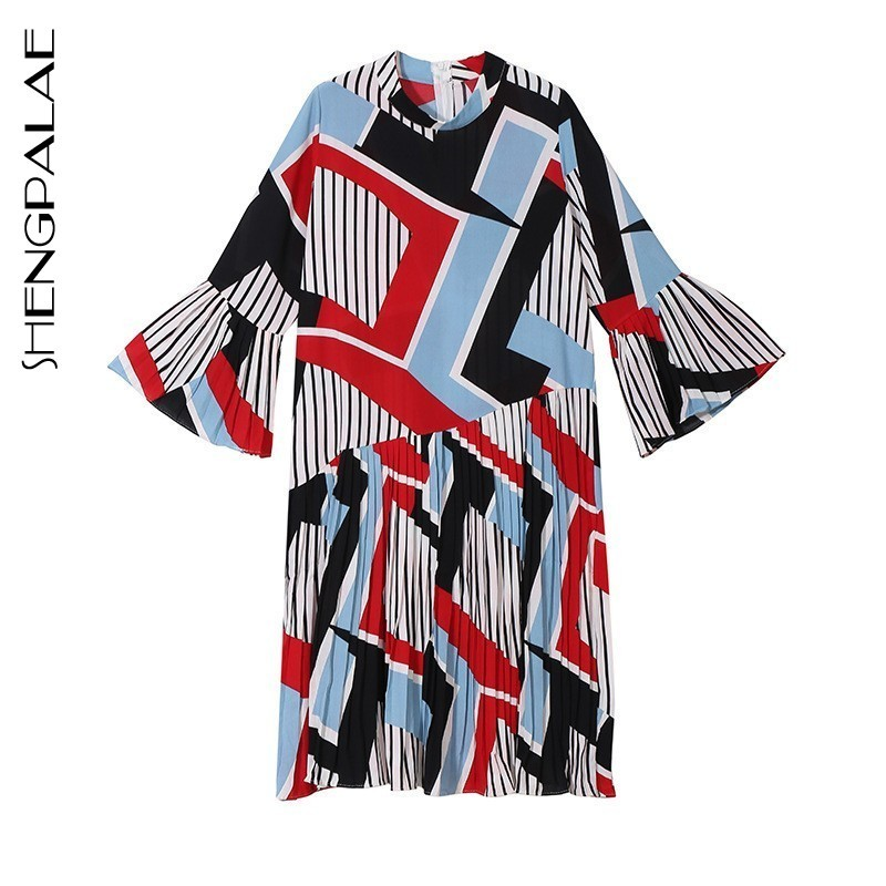 SHENGPALAE 2019 Summer Boho Style Stand Collar Geometric Printing New Design Flare Sleeve Loose Big Size Women Dress Tide JO585