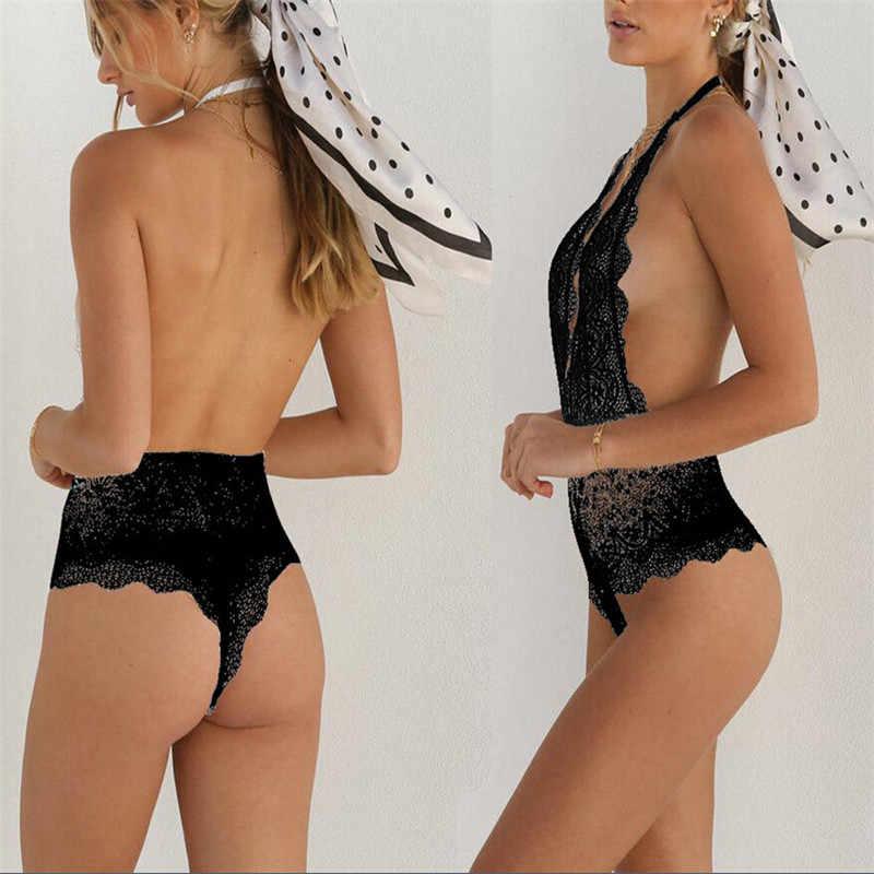 Женский пикантный комбинезон классический черный элегантный одноцветная одежда для сна Babydoll Кружева стринги Комбинезоны женские модные боди