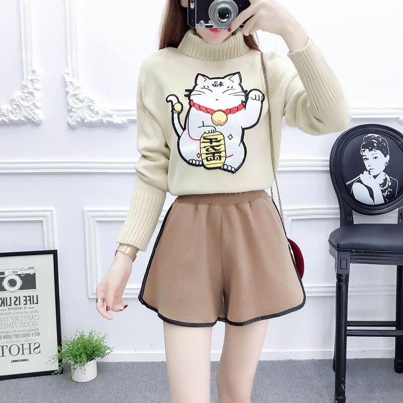 Nouveau costume d'hiver jupes rouges plutus cat pull en tissu bottes pantalons, shorts deux pièces vêtements ensemble femmes tenue shorts vestido