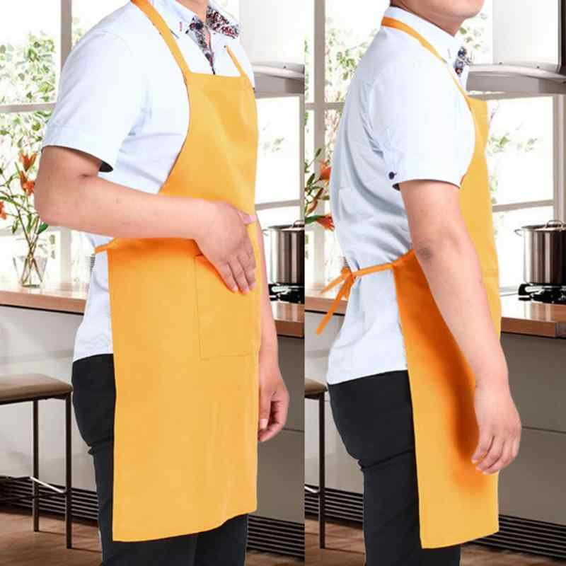 新しいエプロンユニセックス固体調理キッチンレストランよだれかけエプロンポケット黒、青、黄色