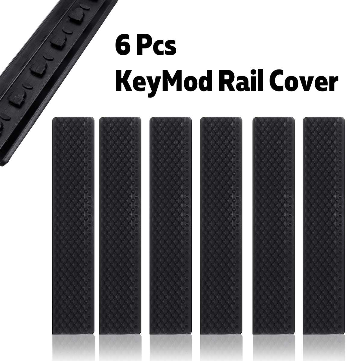 Pack of 6 Black for KeyMod Rail Cover Textured Anti Slip Panels Black Rubber|Scope Mounts & Accessories| |  - title=