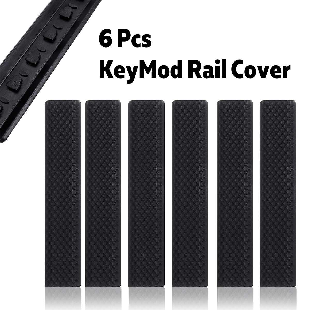 Pack Of 6 Black For KeyMod Rail Cover Textured Anti Slip Panels Black Rubber