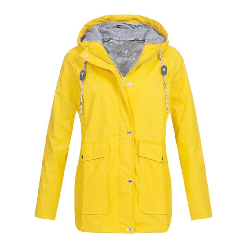 2019 Women Hooded Jacket Waterproof Solid Long Sleeve Zip Ladies Long Coat Rain Outerwear Fashion Women Sportswear Jacket Coat