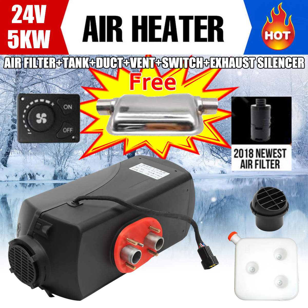 Car Heater 24V 5KW Diesels Air Parking Heater for RV, Motorhome Trailer, Trucks, Boats HOT Knob Switch Silencer Muffler For Free high quality intake silencer and exhaust muffler for air parking heater