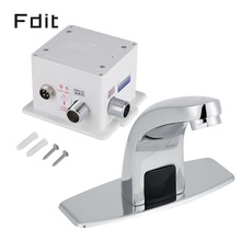 Zinc Alloy One Hole Touchless Basin Faucet Automatic Infrared Sensor Kitchen Bathroom Sink Water Tap w/ Control Box