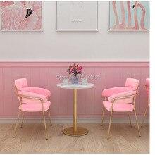 Освежающий чистая красный ins принцесса бар chiar барный стул байки подушки спинки десерт Ресторан экономичный Северный стул