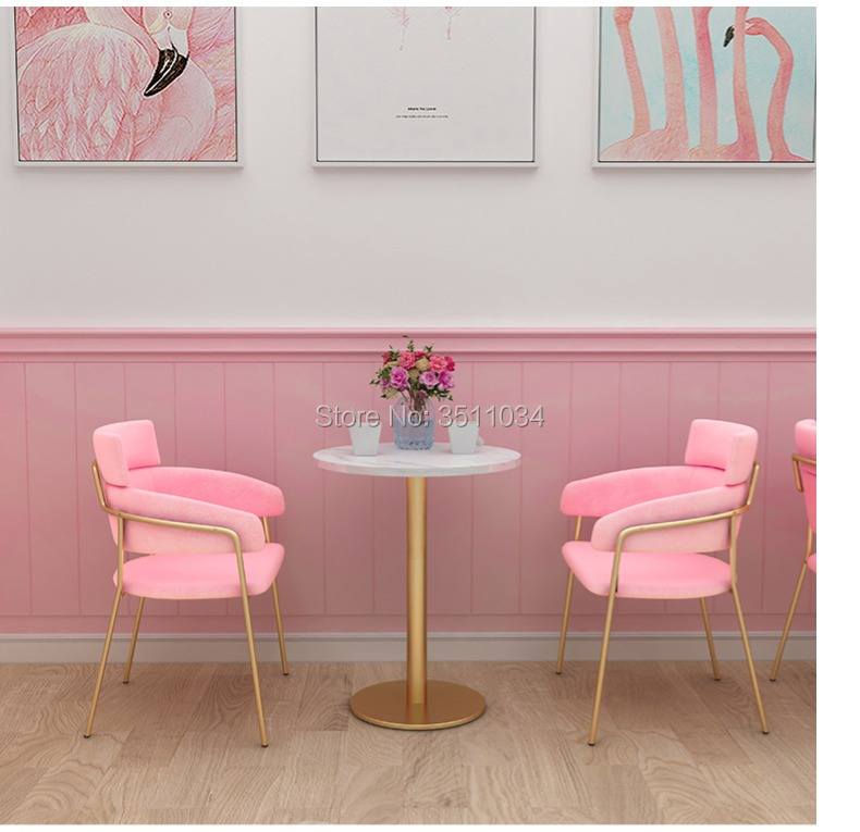 refreshing net red ins Princess bar chiar Bar stool Flannelette cushion backrest dessert restaurant economical Nordic chair