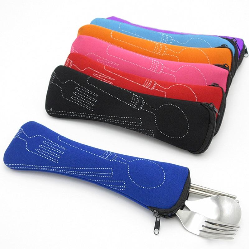 Portable Pillow Bag Knife Fork  Air Cotton Travel Cutlery Bag Zipper Chopsticks Soft 8 Colors 1Pc New Fashion