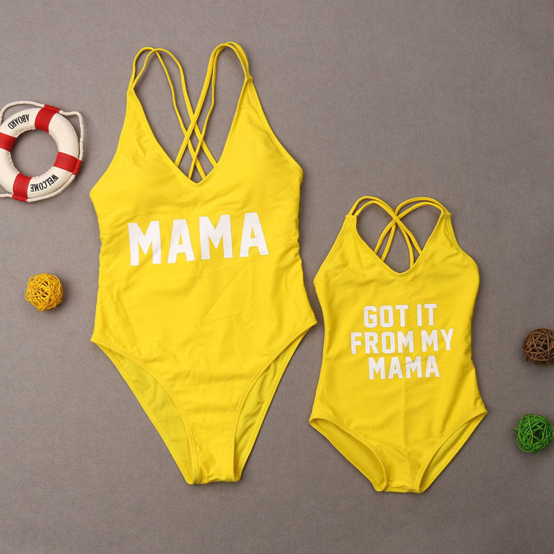 2019 New Summer Family Matching Swimsuit Women Girls Mom Kids Baby Girls Letter Bathing Suit Swimwear Swimsuit One Pieces
