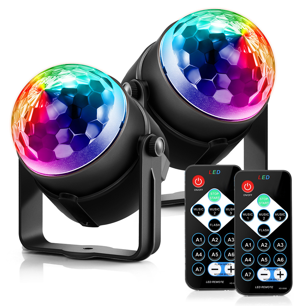 Sound Activated Rotating Disco Ball Party Lights Strobe Light 9W RGB LED Stage Lights For Christmas Home KTV Xmas Wedding Show