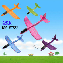48 см Большой размер ручной запуск бросание рук бросать самолеты инерционная пена EPP самолет игрушка дети самолет для детей синий фиолетовый розовый
