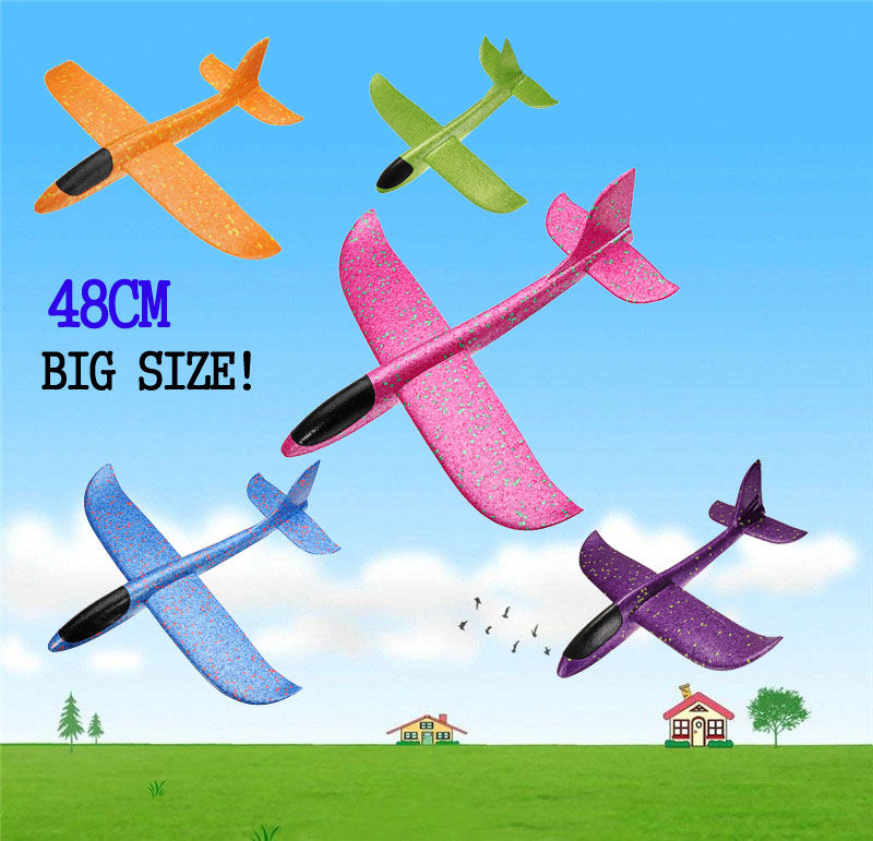 48cm Big Size Hand Launch Throwing Hand Throw Planes Inertial Foam EPP Airplane Toy Children Plane For Kids Blue Purple Pink