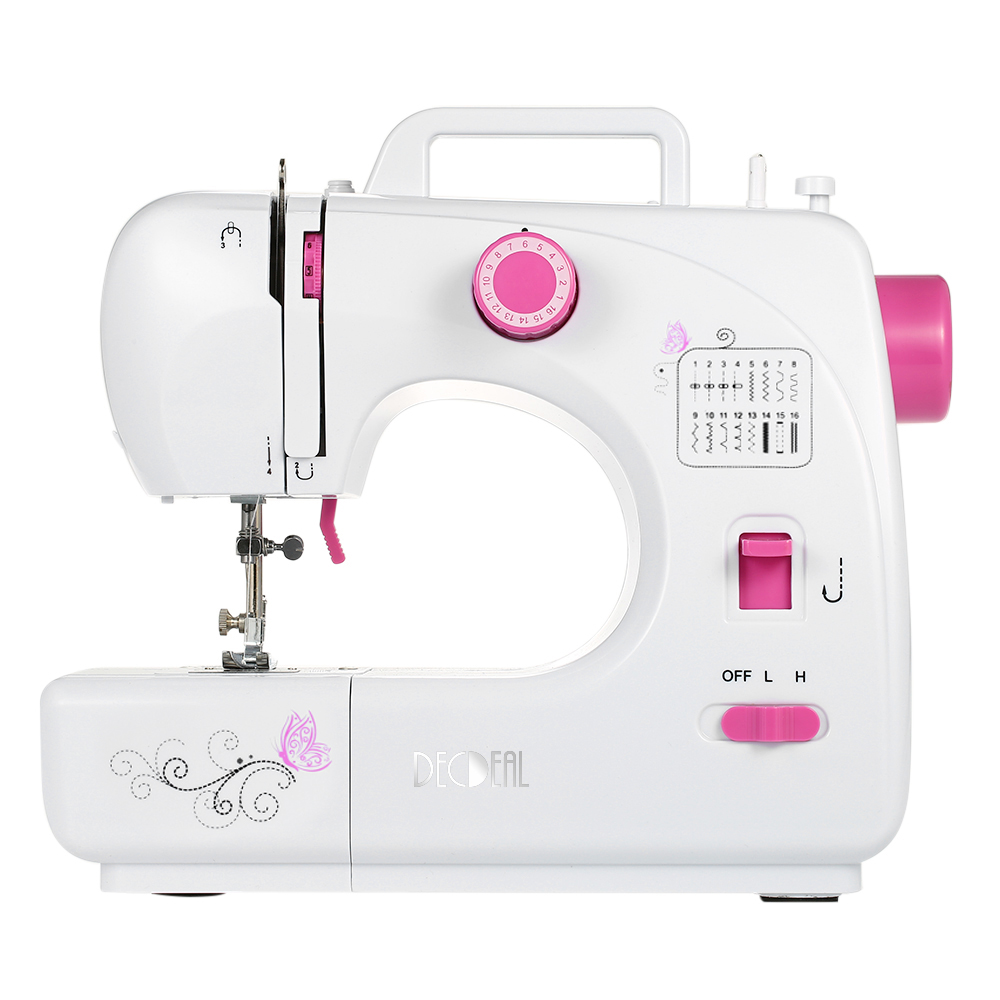 Decdeal Household Electric Sewing Machine Double Thread Adjustable Speed Replaceable Foot Sewing Machine with Pedal LED
