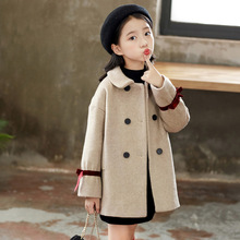 цена на Children's Clothing 2019 autumn and winter new red ribbon solid color wool long-sleeved girl coat