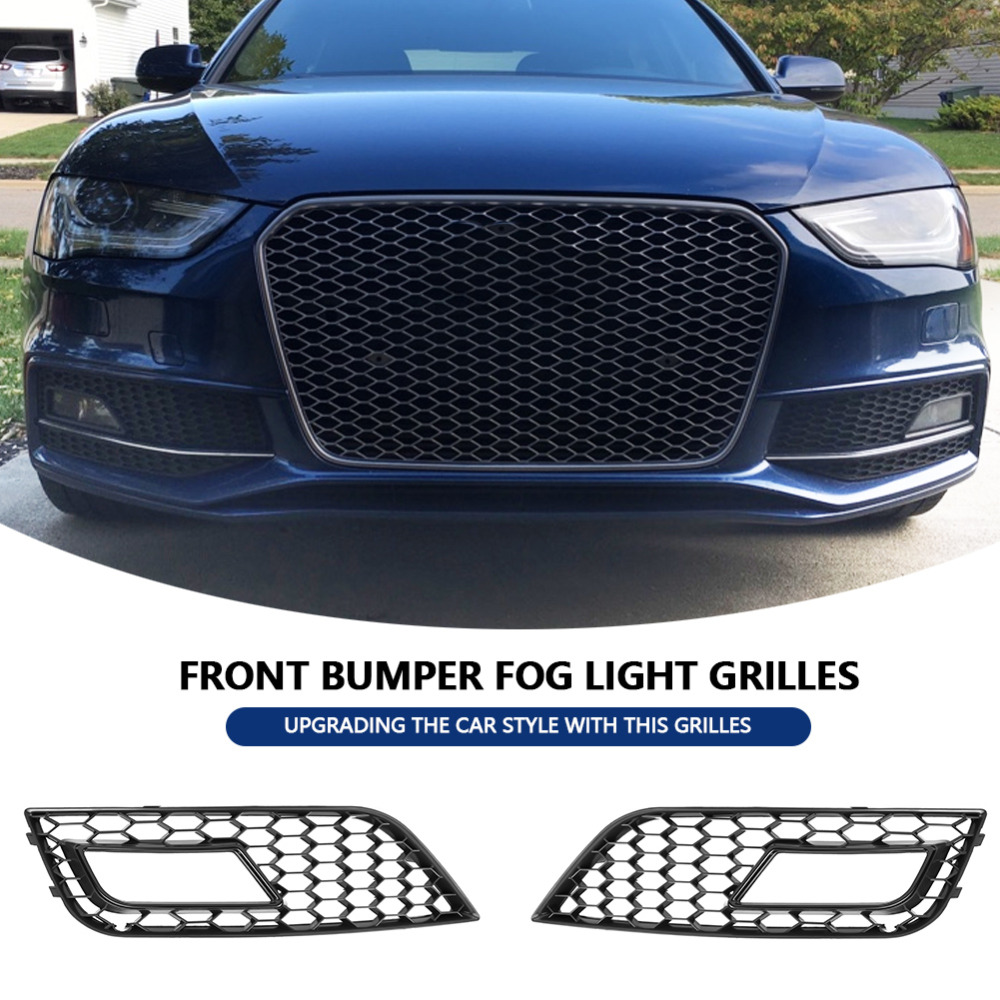 2pcs Car Auto Front Bumper Fog Light Grilles for Audi A4 B8.5 RS4 2013-2016 Glossy car accessories Black car styling2pcs Car Auto Front Bumper Fog Light Grilles for Audi A4 B8.5 RS4 2013-2016 Glossy car accessories Black car styling