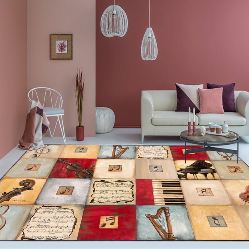 Vintage Music Note Carpets Cello Harp Pattern Tea Table Rug Anti Slip Child Carpet Mats Bedroom Bedside Rugs Large Size