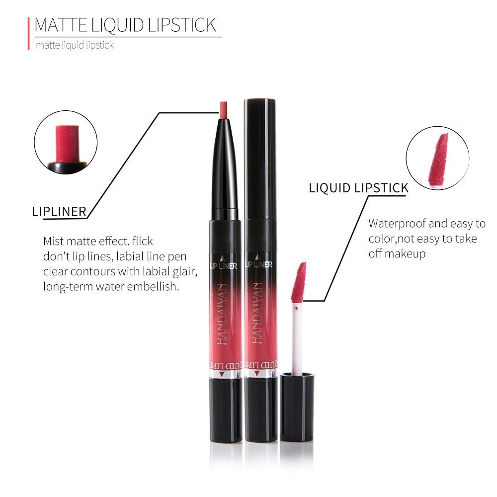 Professional 2 In1 Matte Lip Liner Makeup Cosmetics Red Lip Tint Plumper Tattoo Make Up Liquid Lipstick Pencil Lip Gloss Pen 4