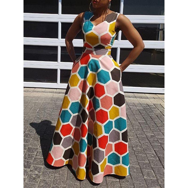 b3e54ce7a8e0cfc Clocolor Для женщин Макси платья без рукавов длиной до пола Длина  расширение печати платье розовый высота