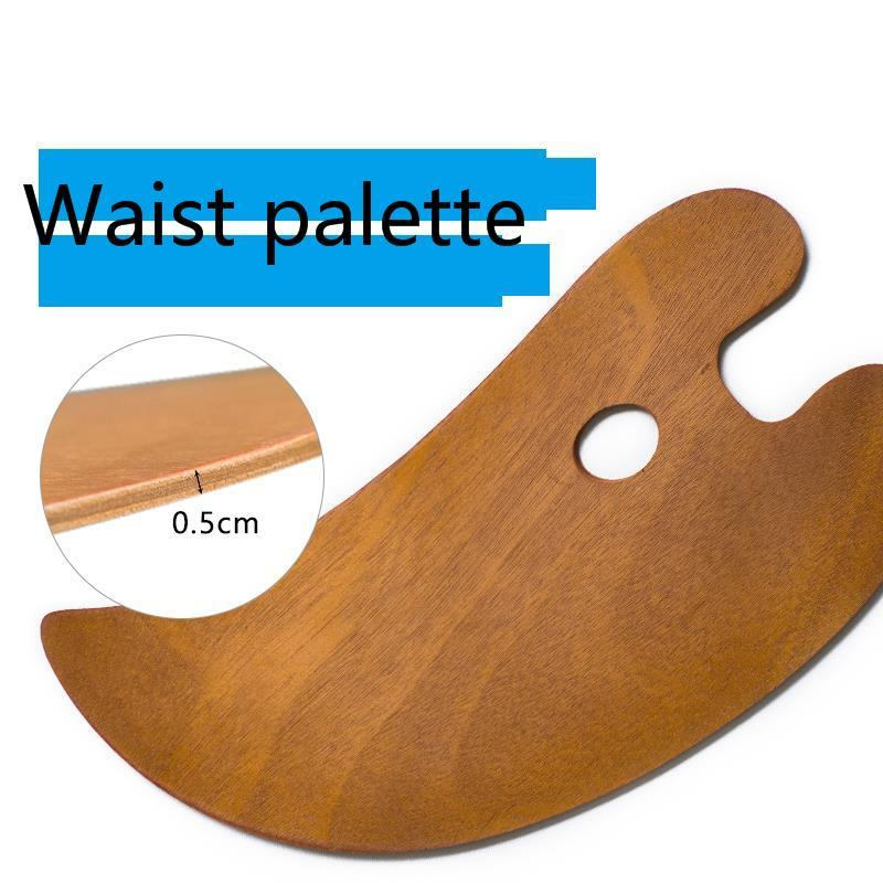 Woodiness Waist Shape Palette Oil Painting Tool Art Supplies Watercolor Paint Two Size Colors Easy Clean
