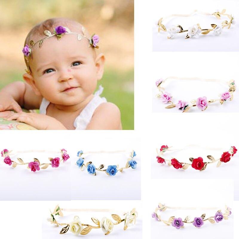 New Baby Girl Rose Headwear Flowers Crown Elastic Gold Leaves Hair Band Princess Cute Headband Baby Girl Photo Prop Accessories