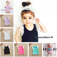 PUDCOCO Infant Toddlers Kids Cotton T-Shirt Baby Girls Princess Lace Sleeve Summer Tops sleeve dress shirt princess baby mesh 4pcs kids splicing girls puff summer denim lace