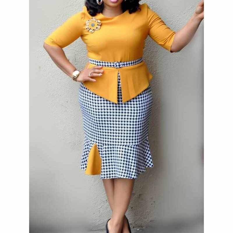 Office Dress Women Elegant Work Wear Plaid Mermaid High Waist Plus Size Ruffles Summer Ladies Yellow Bodycon Midi Dress Trumpet