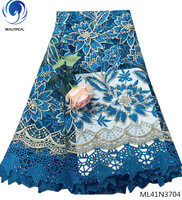 BEAUTIFICAL sky blue lace fabric bridal fabric lace 5yards/lot african french lace fabric high quality 2018 dresses ML41N37