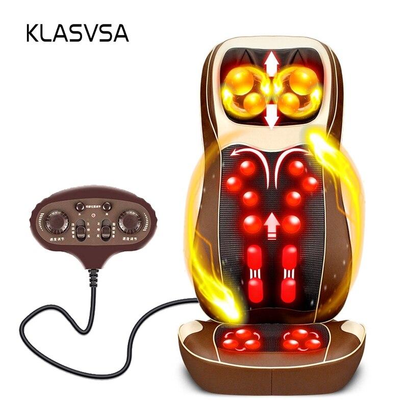 KLASVSAE Elettrico Sedia di Massaggio Torna Spalla del Collo Massager Terapia A Raggi Infrarossi Riscaldamento Impastare Cuscino di Massaggio Stimolatore Muscolare