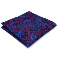 Floral Paisley Fuchsia Purple Blue Handkerchieves Mens Ties Jacquard Woven