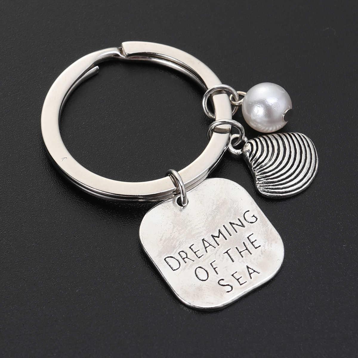 1 pc Marine Theme พวงกุญแจ Keyrings ไข่มุกโลหะแขวนเครื่องประดับจี้รถพวงกุญแจกระเป๋าจี้สำหรับผู้ชายผู้หญิงเด็ก