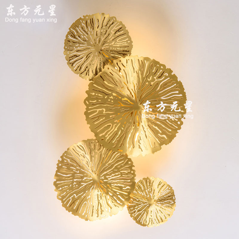 Led Wall Lamp Bedside Light Lotus Leaf Copper Personality Living Room Background Wall Bedroom  Hollow Lotus Wall Lighting|LED Indoor Wall Lamps| |  - title=