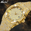 MISSFOX 18K Gold Luxury Brand Diamond Top Brand Calendar Date Unisex Quartz Watches