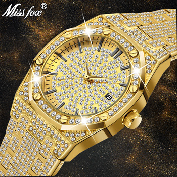 MISSFOX Men's 18K Gold Luxury Brand Diamond Top Brand Calendar Date Unisex Quartz Watches