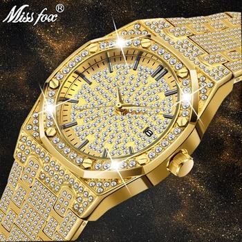 MISSFOX Men's 18K Gold Luxury Brand Diamond Top Brand Calendar Date Unisex Quartz Watches