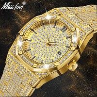 Золотые часы Для мужчин Элитный бренд Diamond Для мужчин s часы лучший бренд класса люкс FF Iced Out Мужские кварцевые часы уникальные подарки ко дню