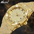18 К золотые часы для мужчин люксовый бренд Алмаз мужские s часы лучший бренд класса люкс FF Iced Out Мужские кварцевые часы Календарь уникальный ...