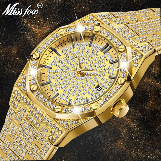 18 18kゴールド腕時計メンズ高級ブランドダイヤモンドメンズ腕時計トップブランドの高級ffアイスアウト男性クォーツ時計カレンダー男性のためのユニークなギフト