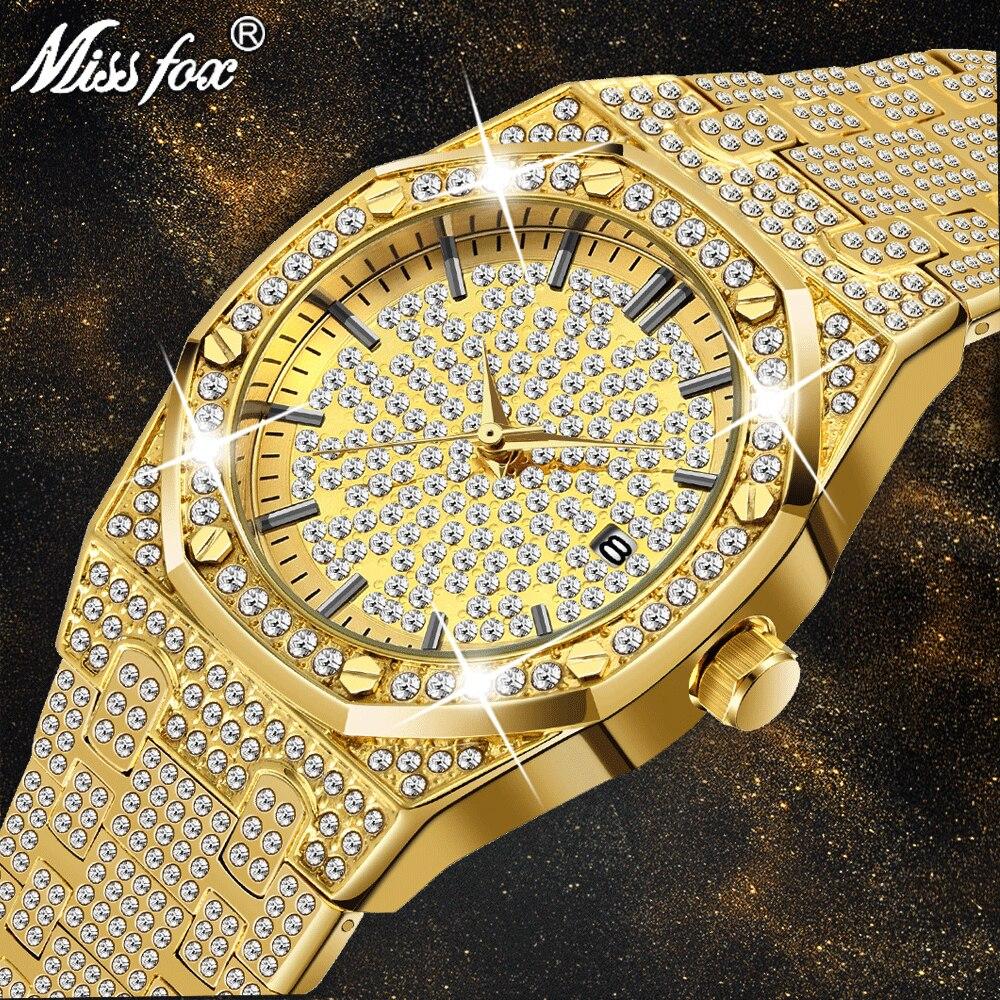 18 k ouro relógio masculino marca de luxo diamante relógios masculinos marca de luxo ff iced para fora masculino relógio de quartzo calendário exclusivo presente para homem