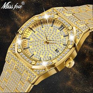 Image 1 - 18K 골드 시계 남자 럭셔리 브랜드 다이아몬드 남성 시계 톱 브랜드 럭셔리 FF 남성 쿼츠 시계 캘린더 남성을위한 독특한 선물