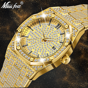 18K Gold Watch Men Luxury Brand Diamond Mens Watches Top Brand Luxury FF Iced Out Male Quartz Watch Calender Unique Gift For Men(China)