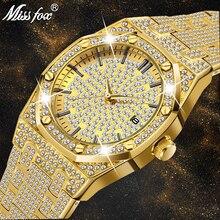 18K altın izle erkekler lüks marka elmas erkek saatler Top marka lüks FF buzlu Out erkek Quartz saat takvim benzersiz erkekler için hediye