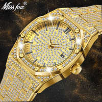 18K or montre hommes de luxe marque diamant hommes montres Top marque de luxe FF glacé mâle Quartz montre calendrier Unique cadeau pour hommes