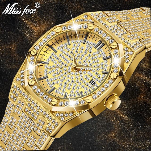 0a82fe651f4 Relógio de ouro Dos Homens de Luxo Da Marca Diamante Mens Relógios Top Marca  de Luxo FF Iced Out Relógio De Quartzo Masculino Únicas Presentes Dia Dos  ...